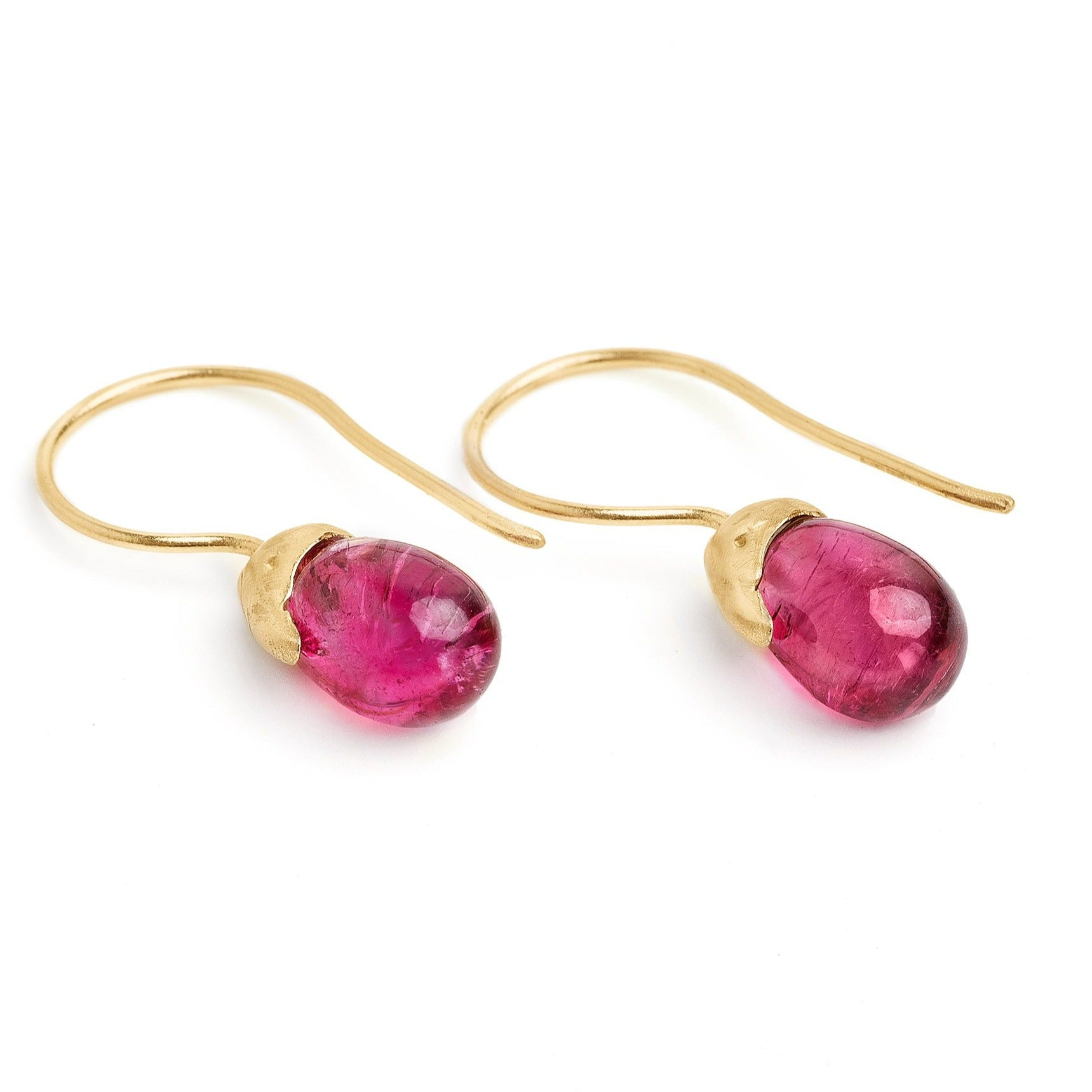 rubellite  tourmaline gemstone drops 14kt gold handmade organic drop earrings