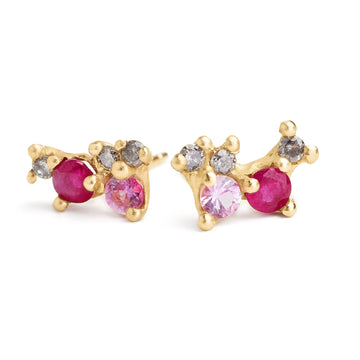 Ruby, pink sapphire and grey diamonds multi-gem earring clusters