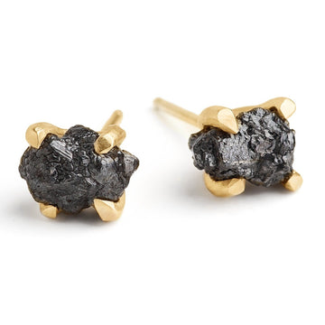 rough black diamonds studs set in handmade 14kt gold setting