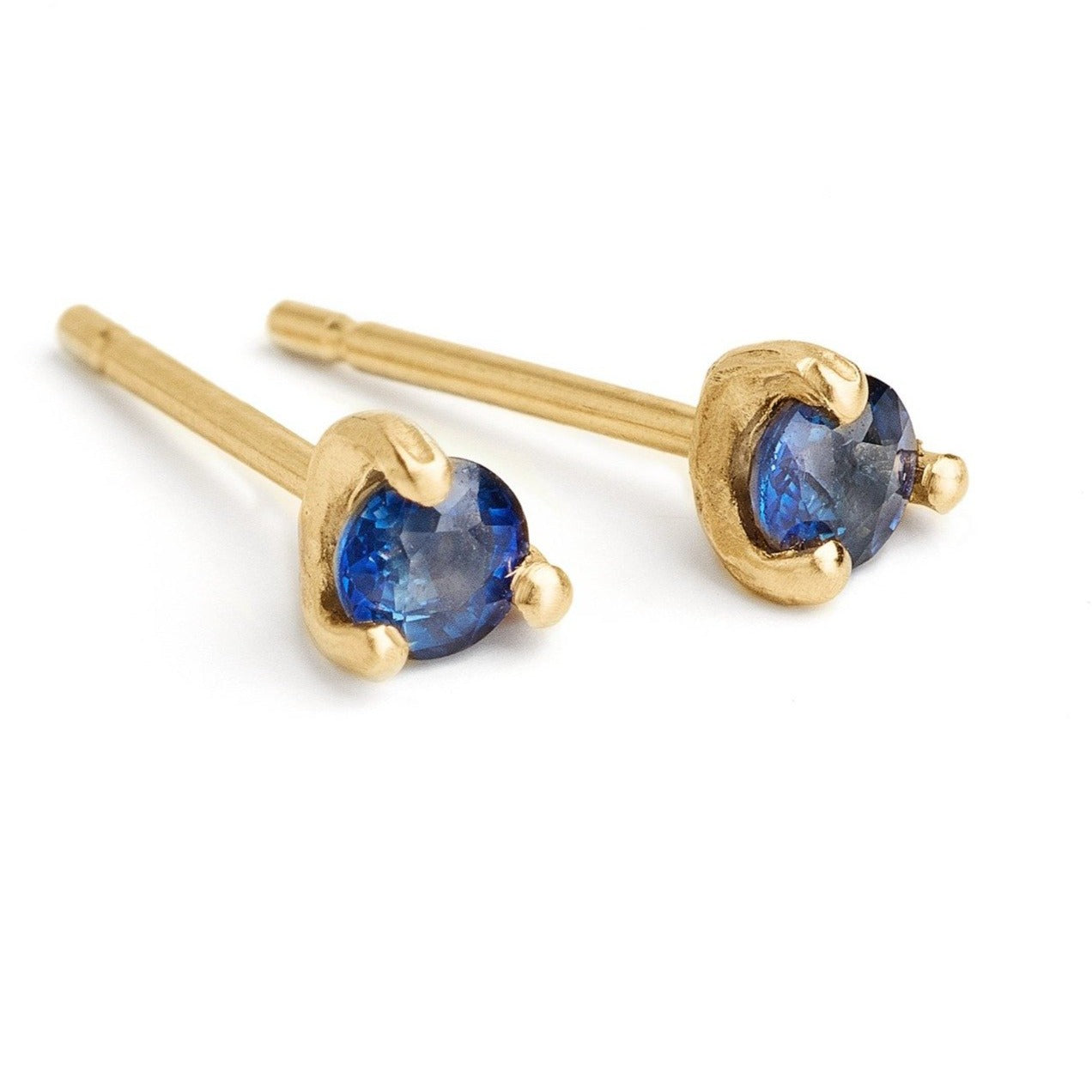 deep blue sapphire small studs, delicate studs set in 14kt gold