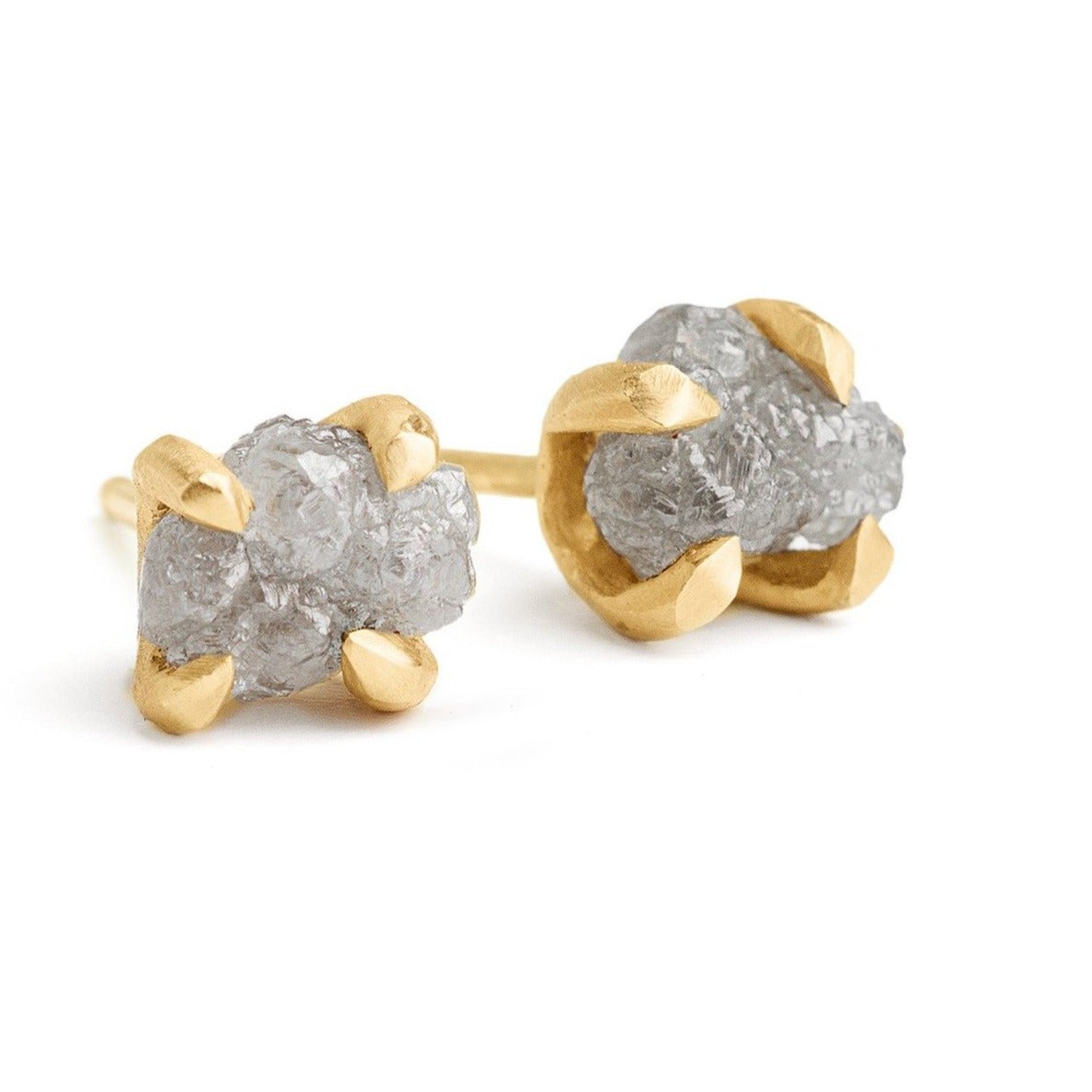 rough raw natural grey diamonds studs set in handmade 14kt gold setting