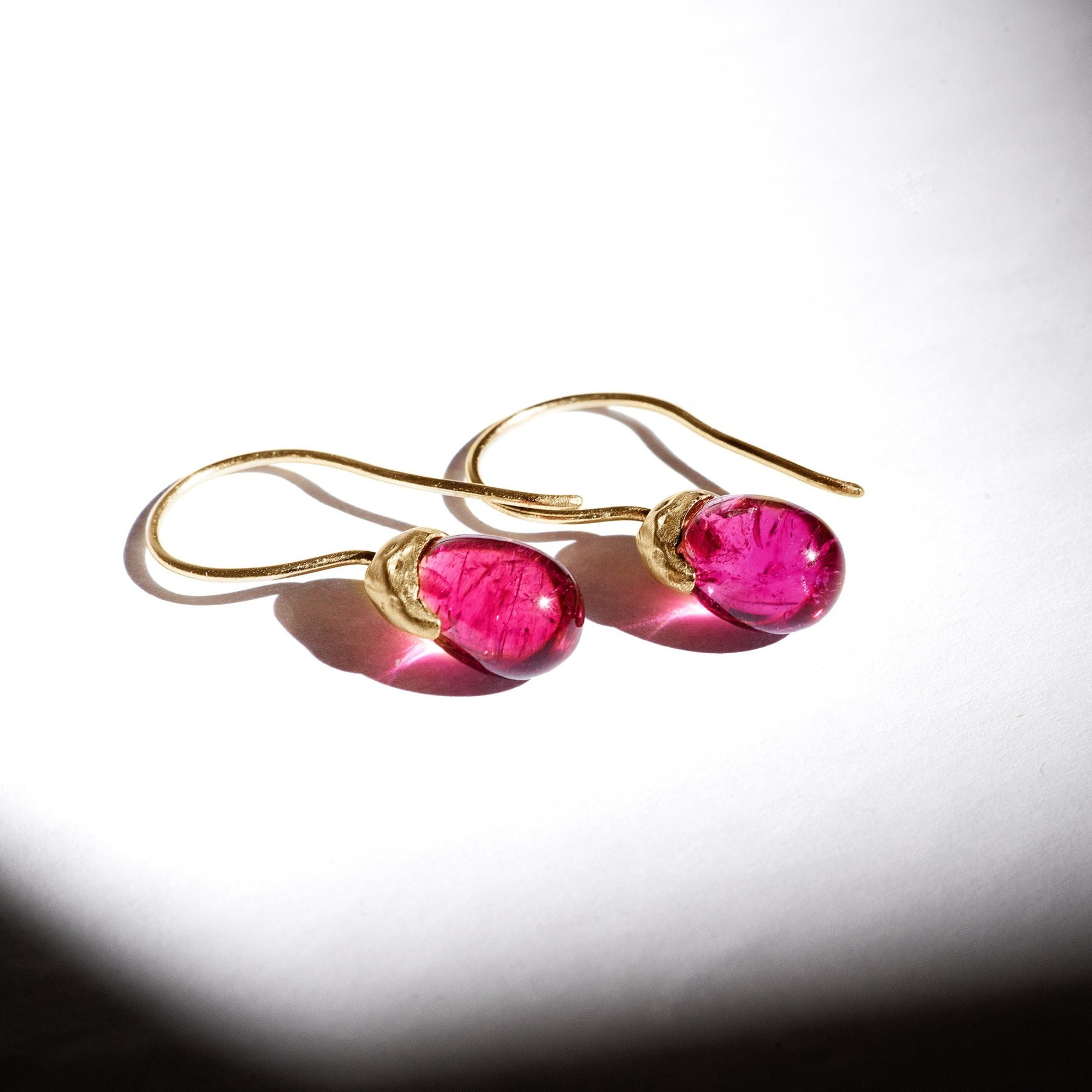 rubellite tourmaline gemstone drops 14kt gold organic earrings