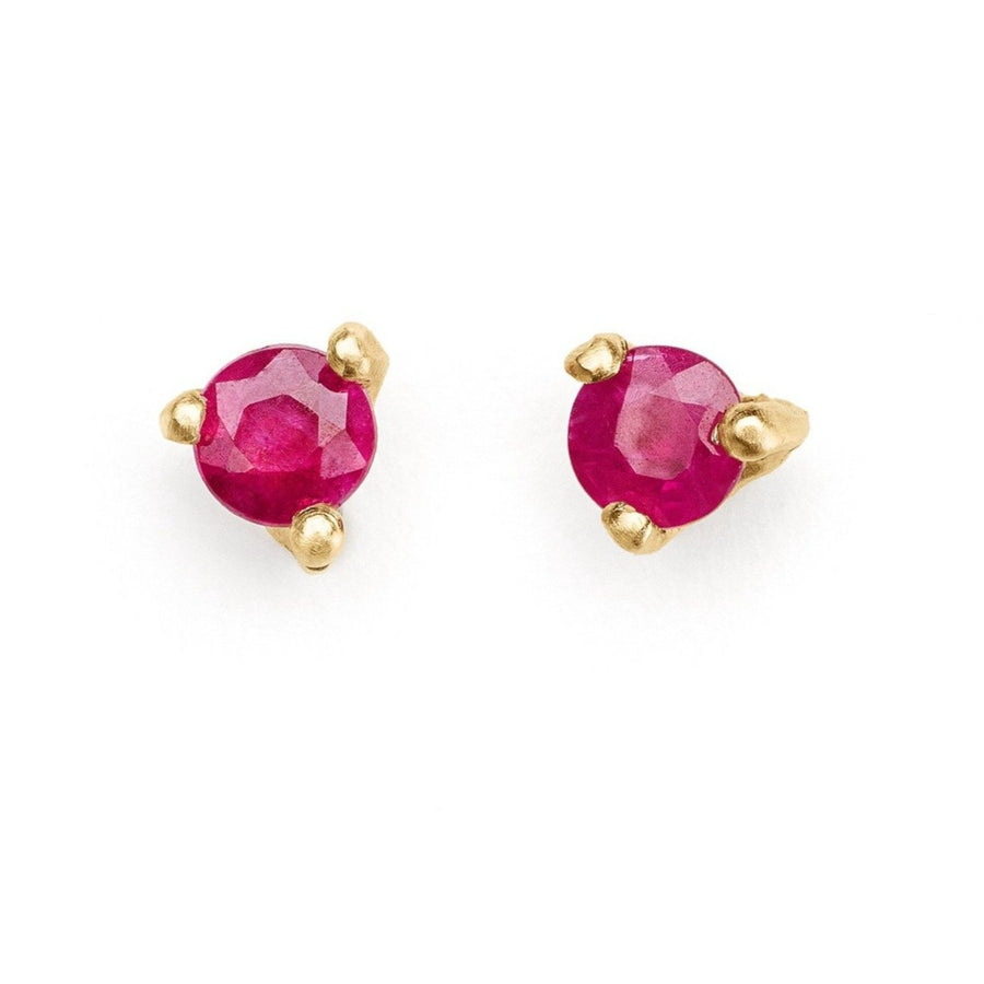 Ruby studs set in 14kt gold delicate studs