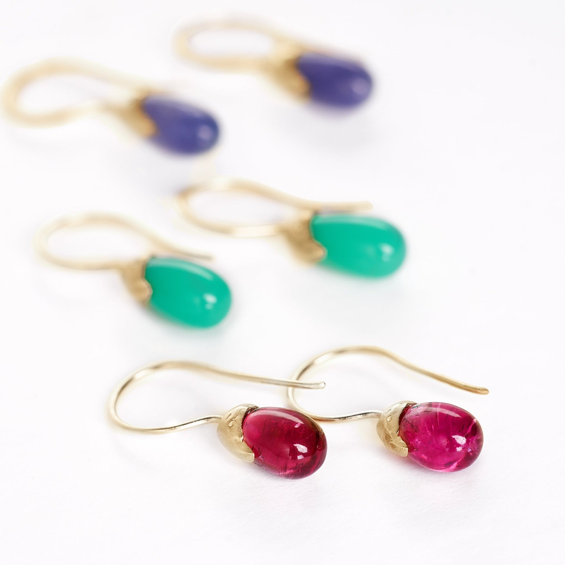 Natural  rubellite, tanzanite, tourmaline and chrysoprase  14kt gold earrings drops with organic handmade texture