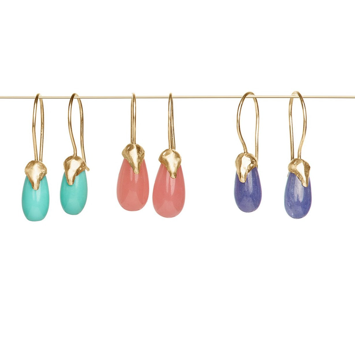 tanzanite drop earrings, turquoise drop earring and guava quartz drop earring with organic 14kt gold cap on ear wire drop