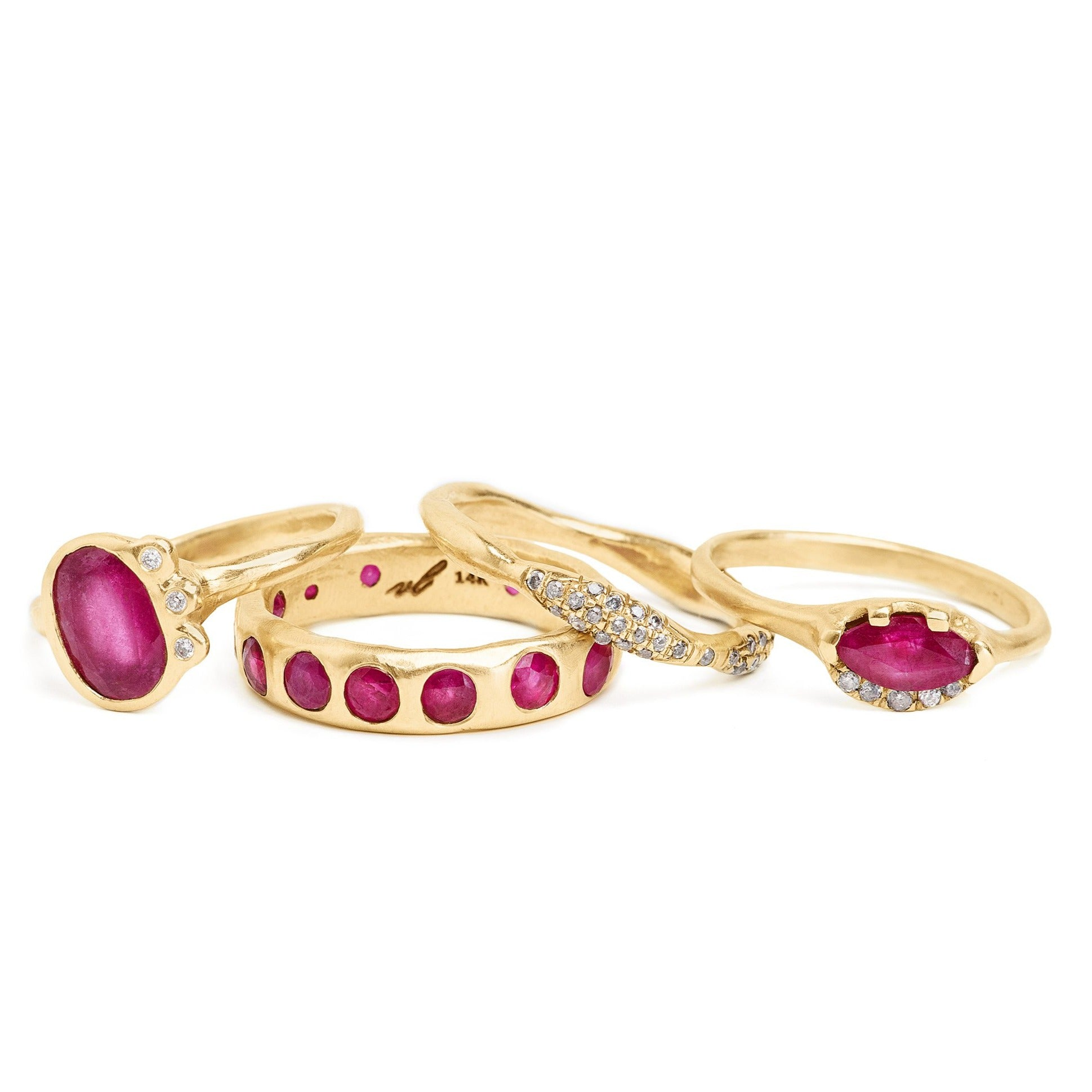 unique ruby rings, organic handmade gold settings and ruby eternity band
