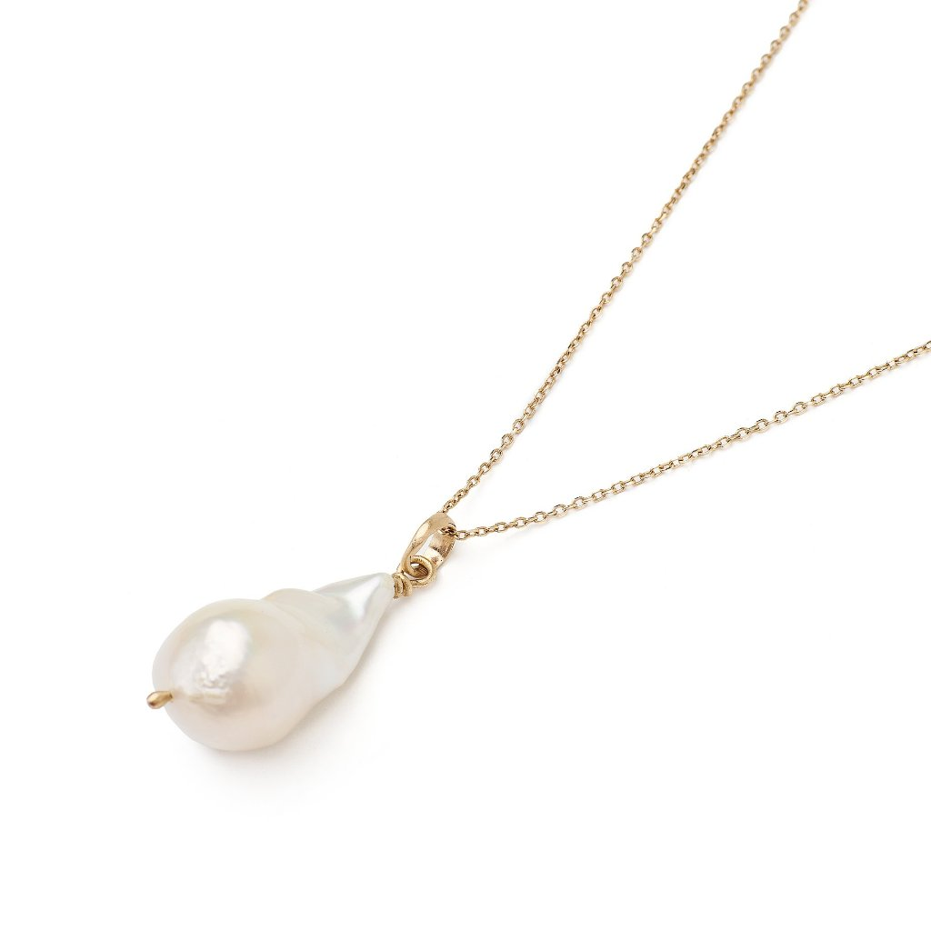 extra large baroque pearl with handmade 14kt gold bail necklace