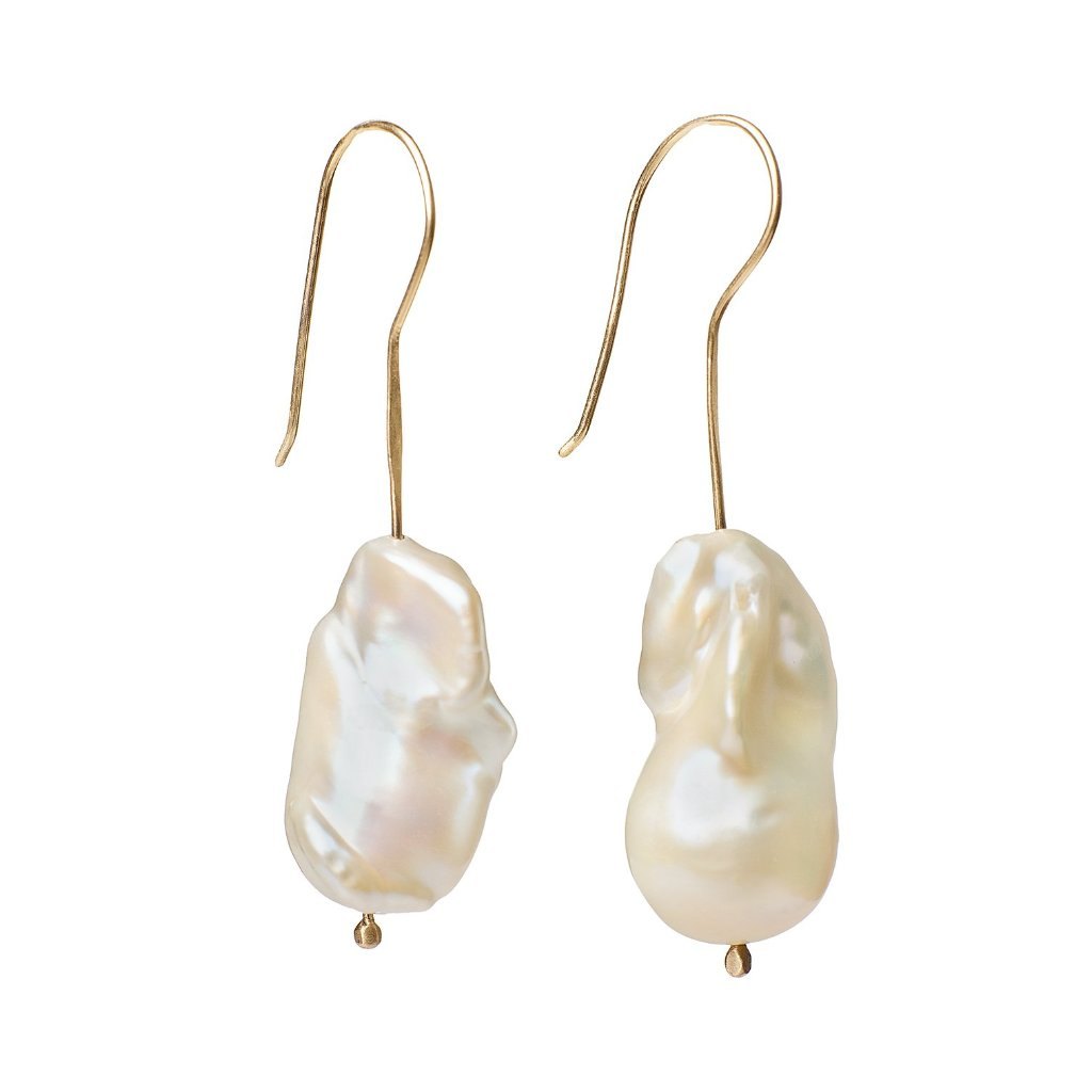 Large Baroque white pearl earrings on 14kt gold earwire