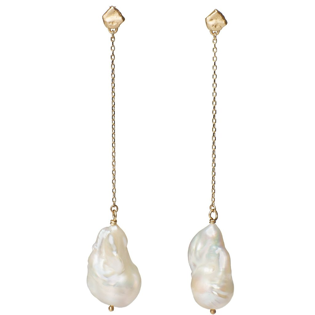 Statement earrings large baroque pearls suspended from 14kt gold studs