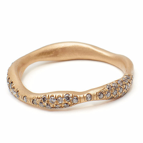 Pave diamond band, Grey diamond gold ring, Wedding band, gold ring, grey diamond ring handmade in Brooklyn NY using recycled gold and reclaimed grey diamonds