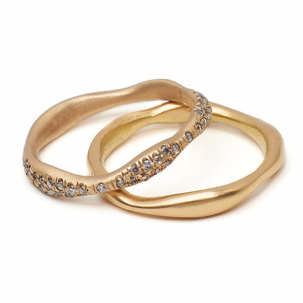 wedding band, 14kt gold organic band, pave grey diamond band, grey diamond, gold band, curved band, delicate gold jewelry sustainably made in Brooklyn NY