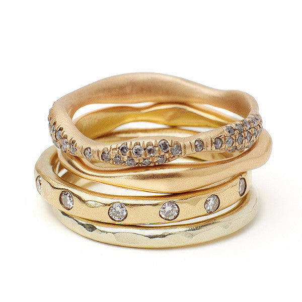 Gold diamond stacking rings.  Wedding bands, delicate jewelry, organic jewelry, hammered bands, hammered gold bands, recycled 14kt gold sustainable jewelry made by hand in Brooklyn NY
