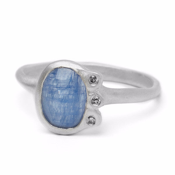 Eloise Ring with rustic sapphire and grey diamonds