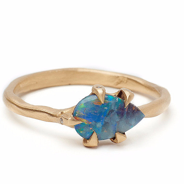 Fiery Boulder Opal Ring set in recycled 14kt gold organic setting. Beautiful alternative opal engagment ring