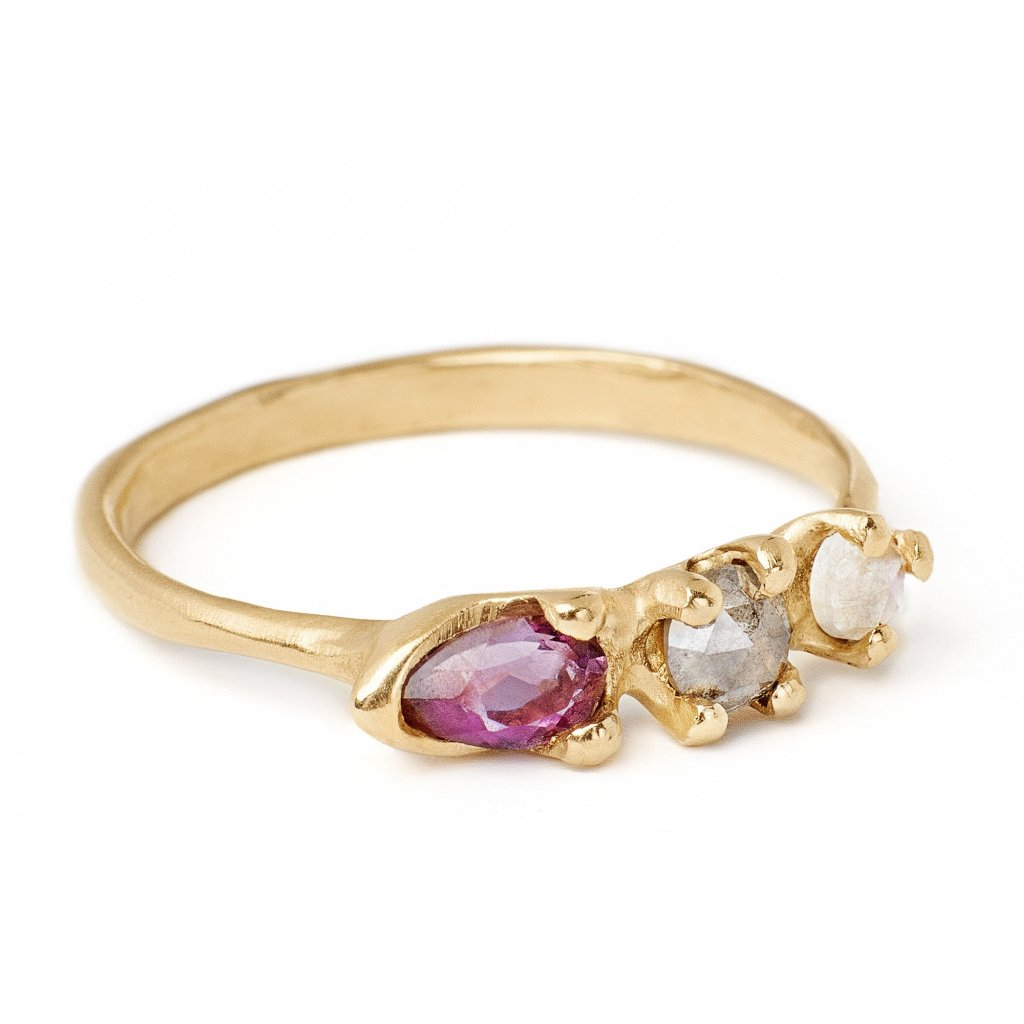 14kt gold amethyst, grey diamond and moonstone ring customize your own birthstone ring