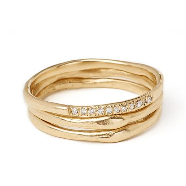 Thin gold handmade band with pave white diamonds 1.5mm 14kt yellow gold