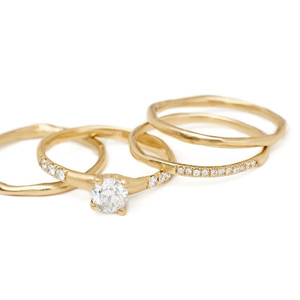 textured thin gold bands 14kt gold with diamonds