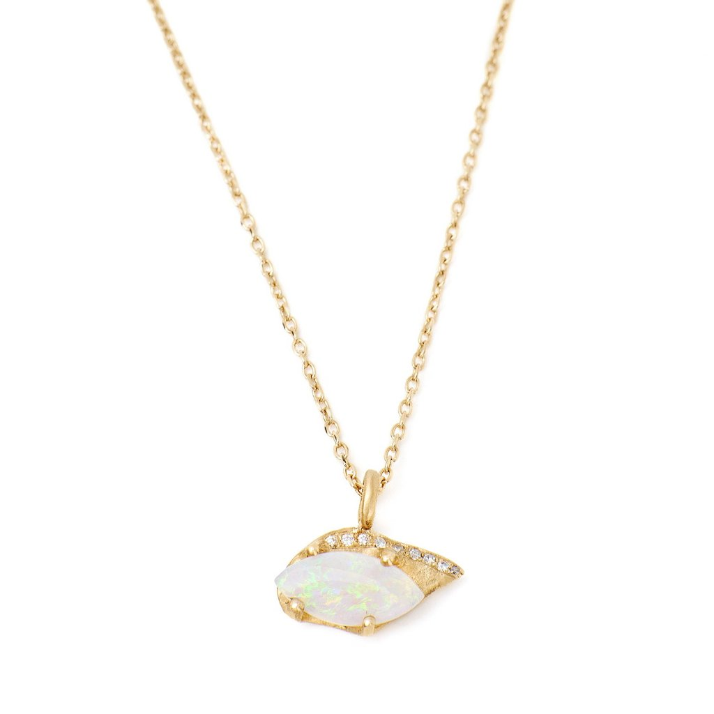 Opal pendant necklace with diamonds 14kt yellow gold handmade in Brooklyn NY