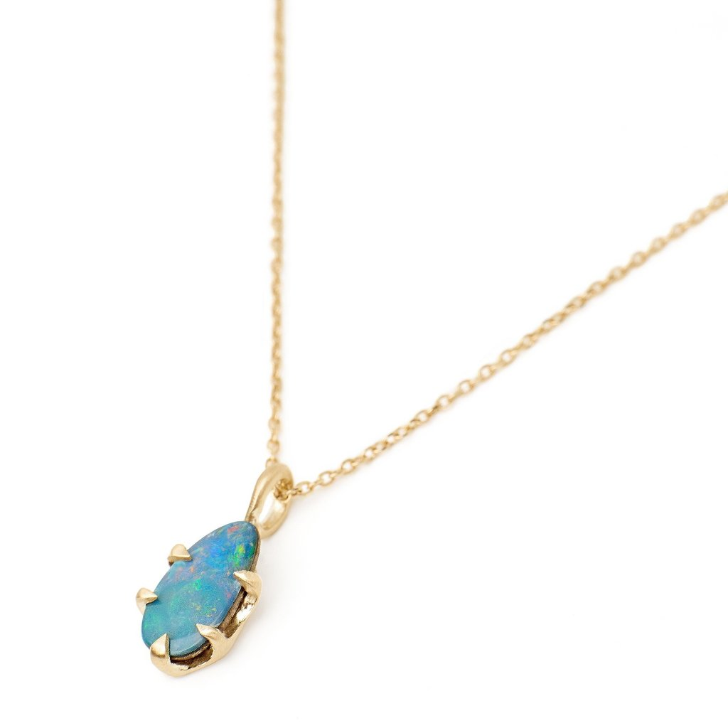 "pear bolder opal necklace; 14kt recycled gold pendant with 16"" chain"