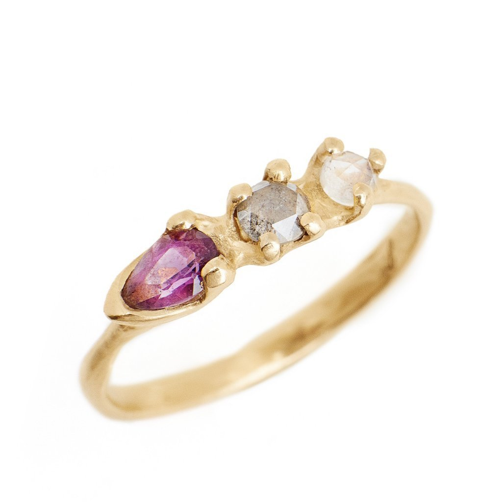 14kt gold ring with pear cut amethyst birthstone, grey rose cut diamond and moonstone multi gemstone ring hand made in Brooklyn NY
