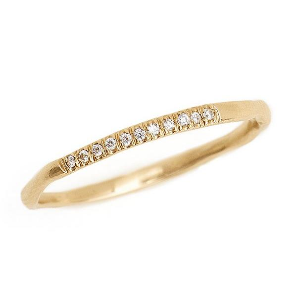delicate 14kt gold 1.5mm band with pave diamonds