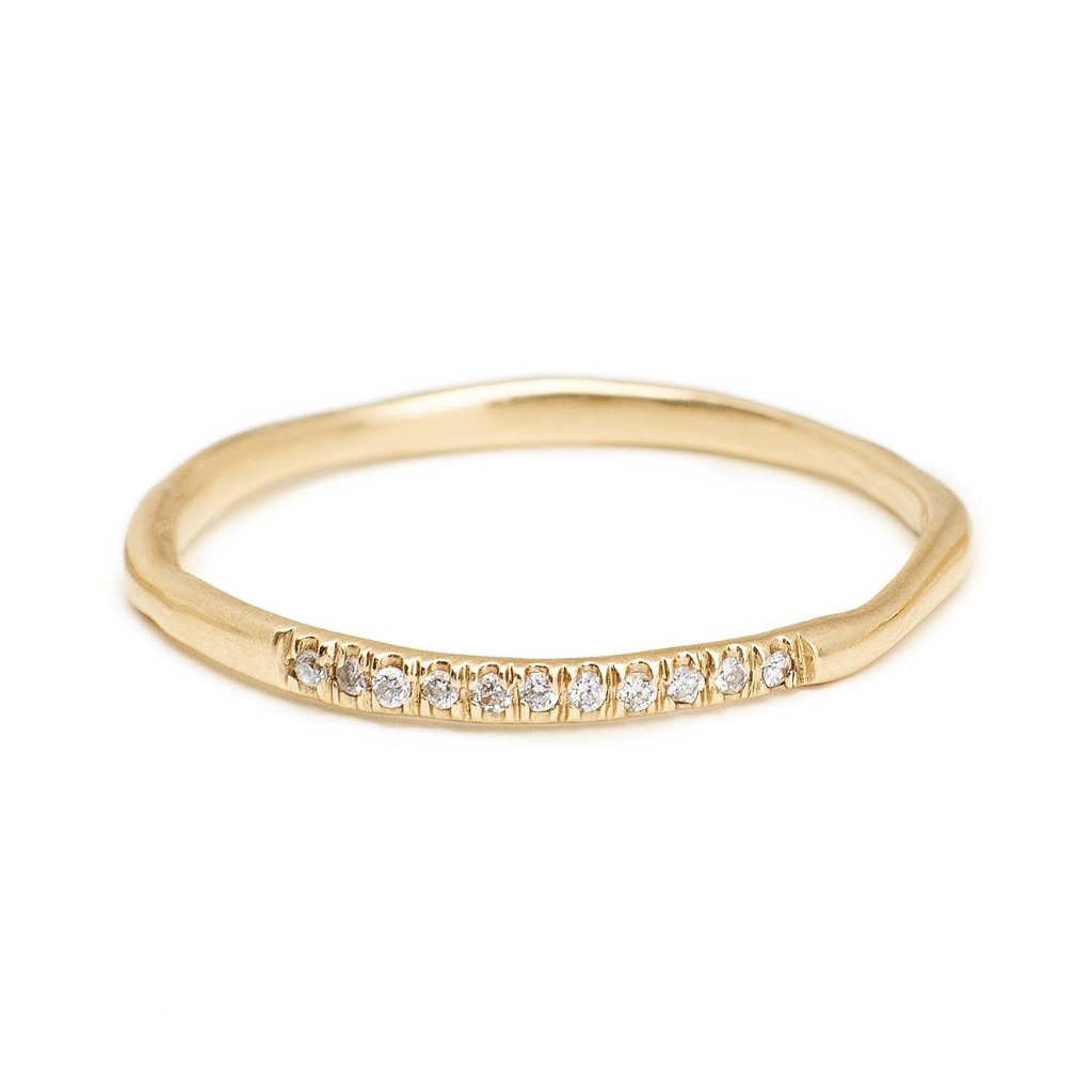 delicate 14kt gold 1.5mm band with pave diamonds wedding bands