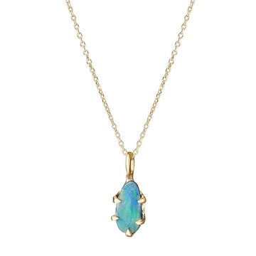 Pear bolder opal necklace 14kt solid gold