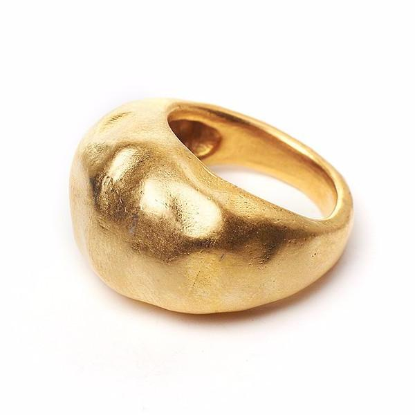 Large 14kt Gold bubble ring soft hammered texture