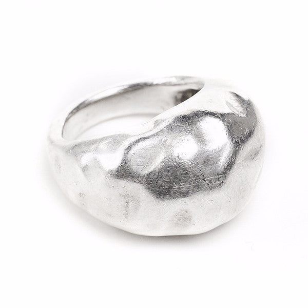 Large silver bubble ring soft hammered texture handmade in Brooklyn, NY