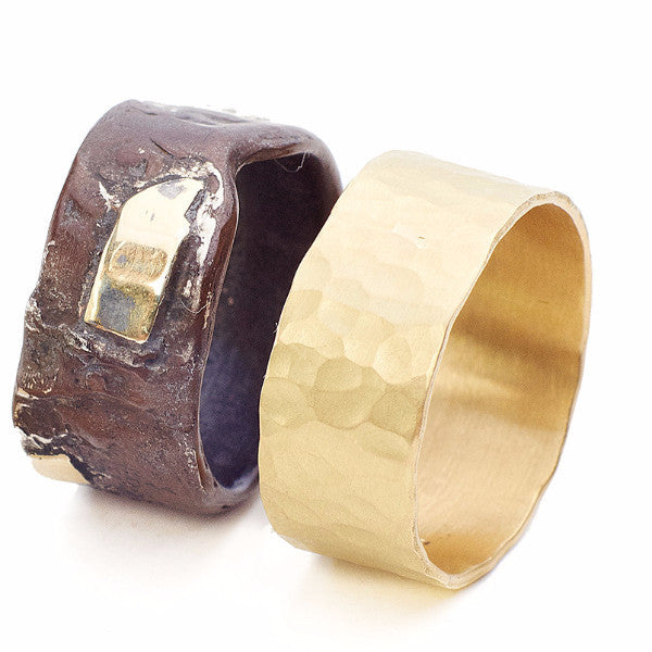 Men's Hammered Gold Band