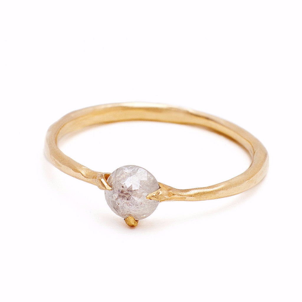 Rose Cut white diamond  ring set in handmade setting.  Sustainable and affordable engagment rings made in Brooklyn NY using recycled gold and reclaimed diamonds.