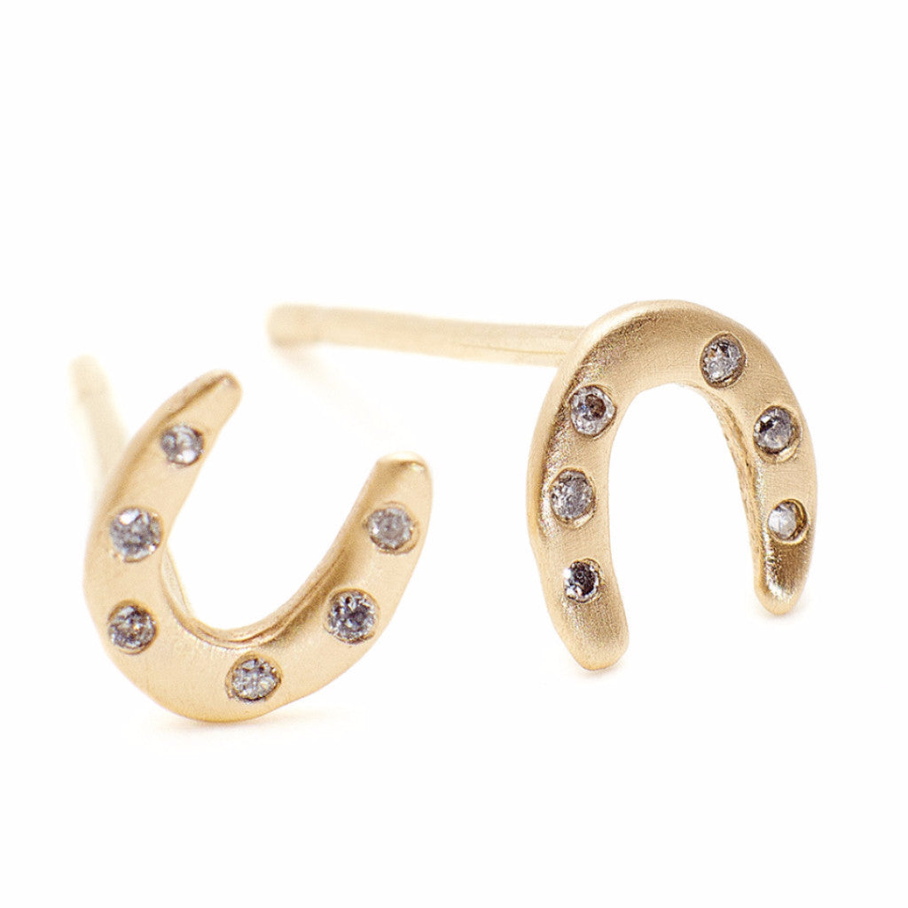 Reese Horseshoe Earrings with Diamonds
