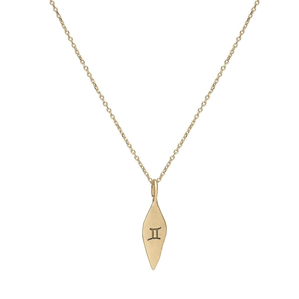 14kt gold Gemini sign pendant necklace