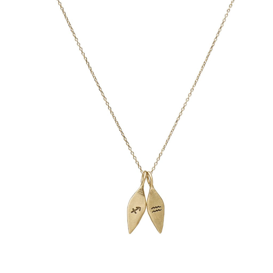 Custom zodiac necklace pendant in 14kt yellow gold