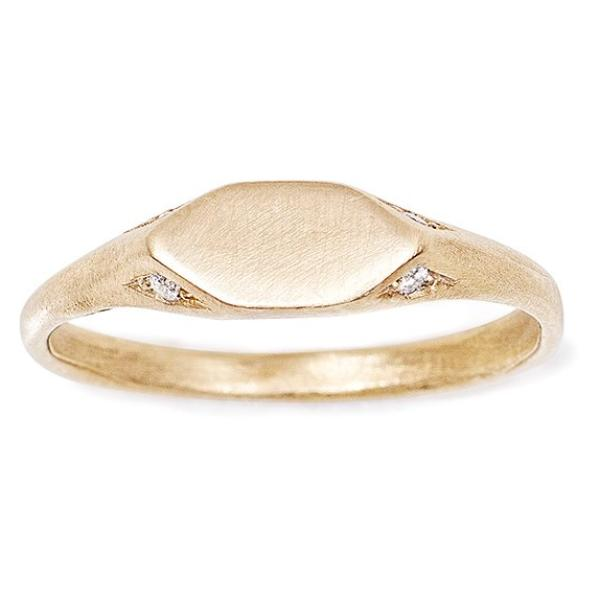14kt gold signet pinky ring with 4 diamonds