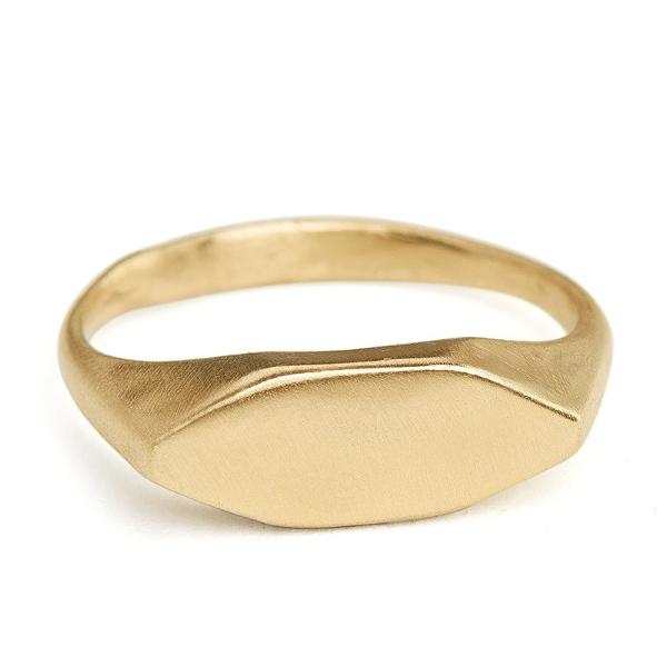 Gold Signet Ring custom engraving 14kt gold