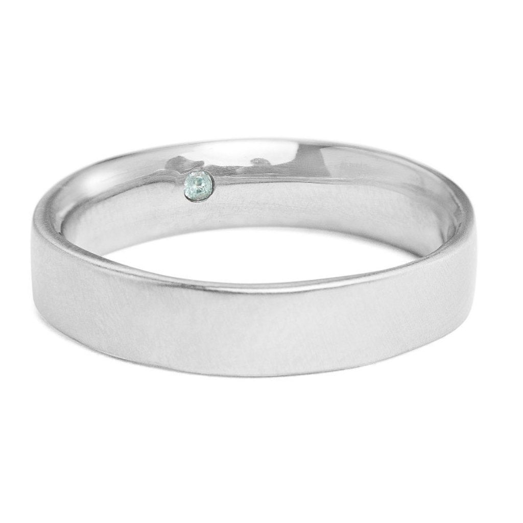 5mm square white gold men's band with comfort fit and secret emerald set inside