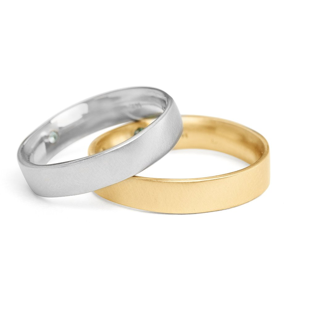 5mm square men's wedding bands 14kt yellow or 14kt white gold with gemstone set on the inside and comfort fit