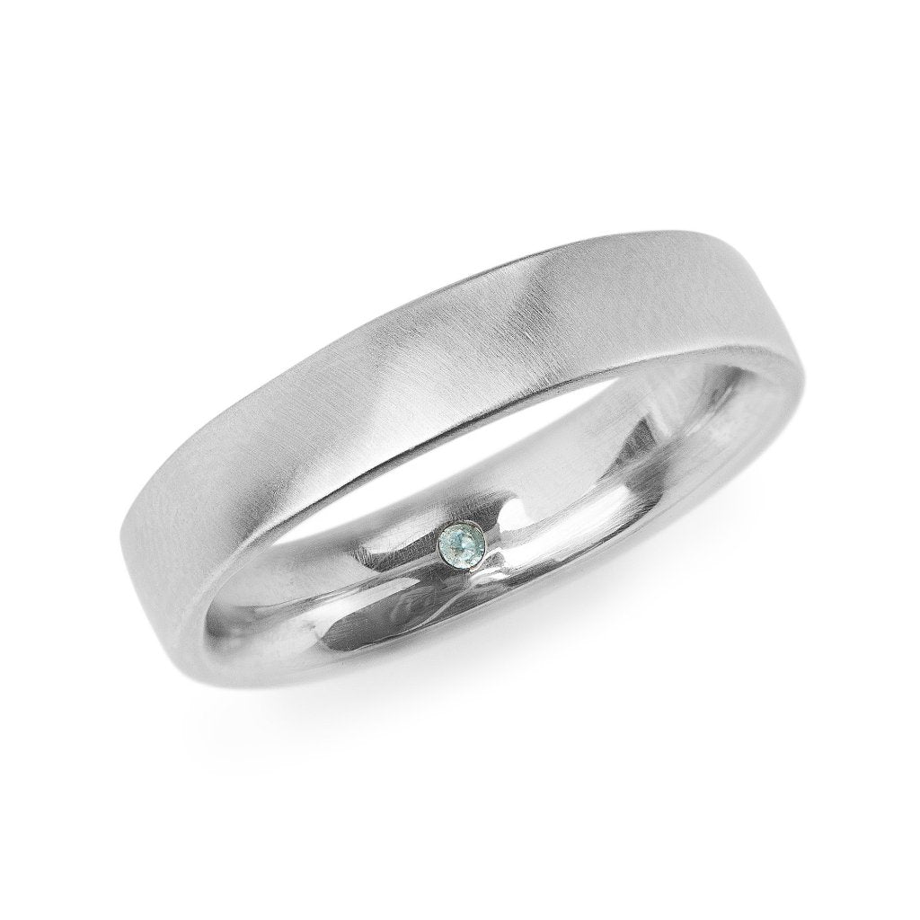 5mm square white gold men's band with comfort fit and secret emerald set inside. Clean modern men's wedding band