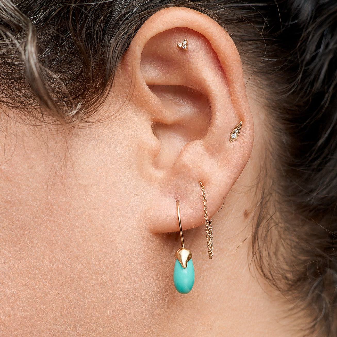 Natural Turquoise and 14kt gold earrings drops with organic handmade texture