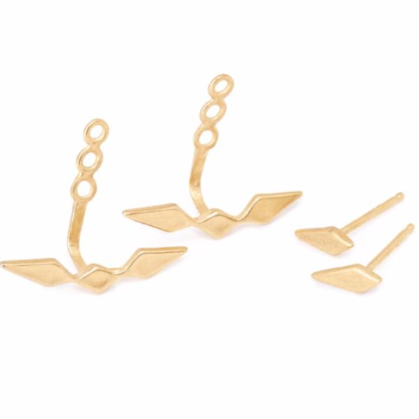 delicate 14kt gold ear-jacket earrings adjustable.