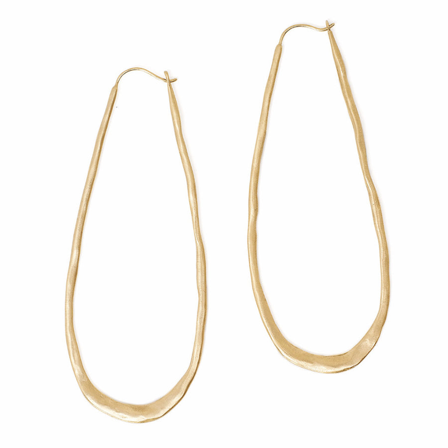 The best Gold Hoops Earrings long oval shape with organic hammered texture
