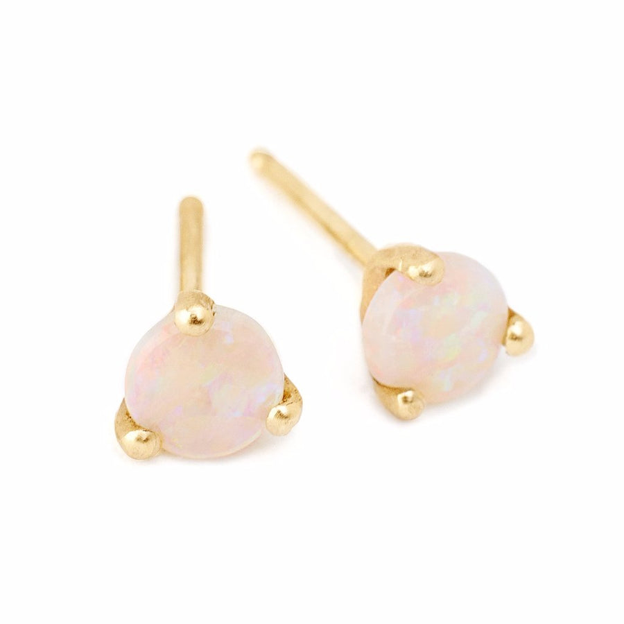 round white opal 14kt gold studs delicate earrings