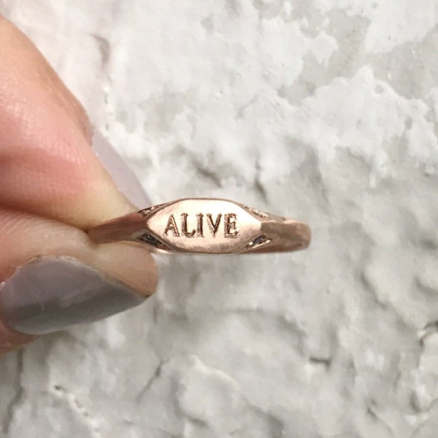 14kt rose gold custom signet pinky ring with grey diamonds free custom engraving