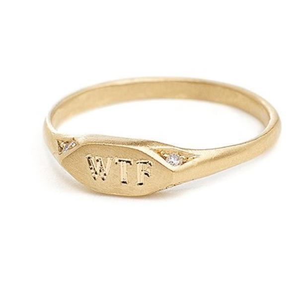 gold signet pinky ring with diamonds free engraving wear your mantra
