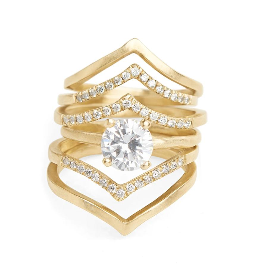 Round white diamond solitaire prong set engagment ring 14kt yellow gold organic handmade texture