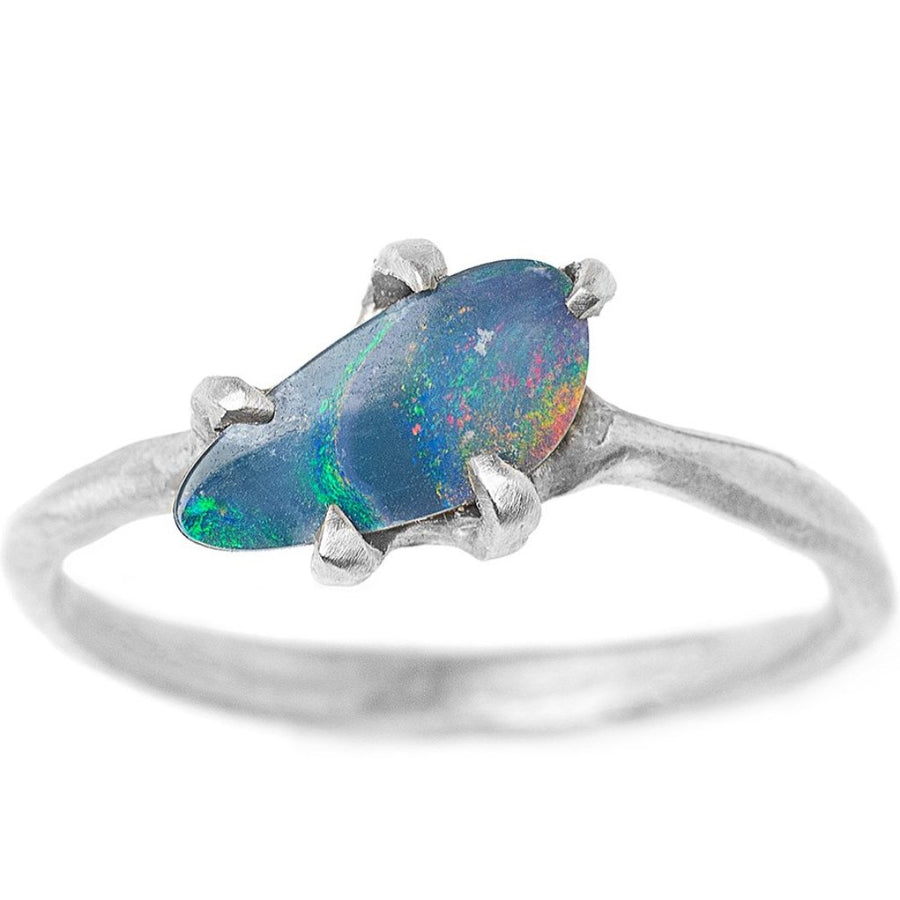 Free form boulder opal ring set in 14kt recycled white gold