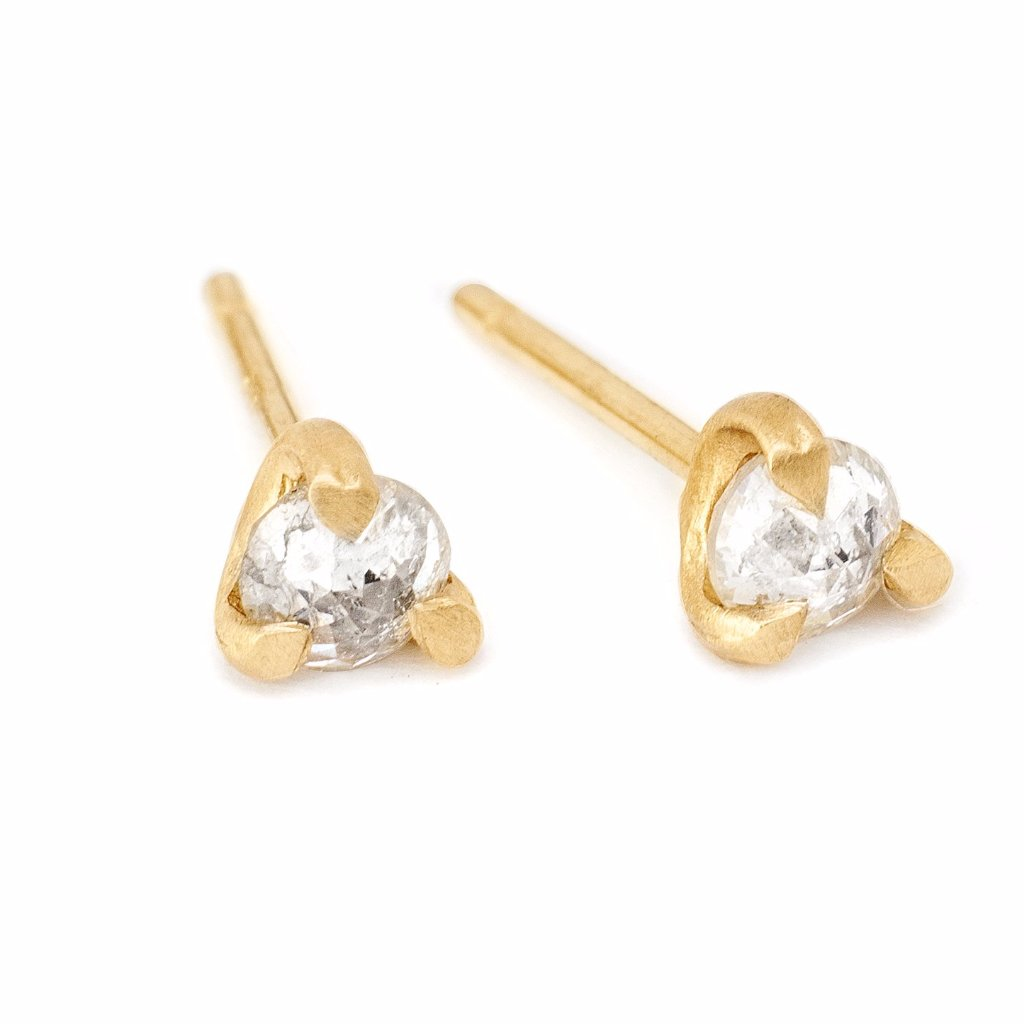 tiny white rose cut diamond studs, 14kt yellow gold diamond stud earrings
