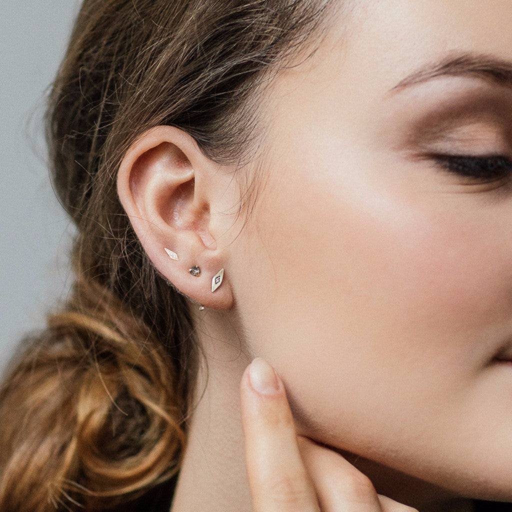 sale tiny gold small pin stud hexagon earrings