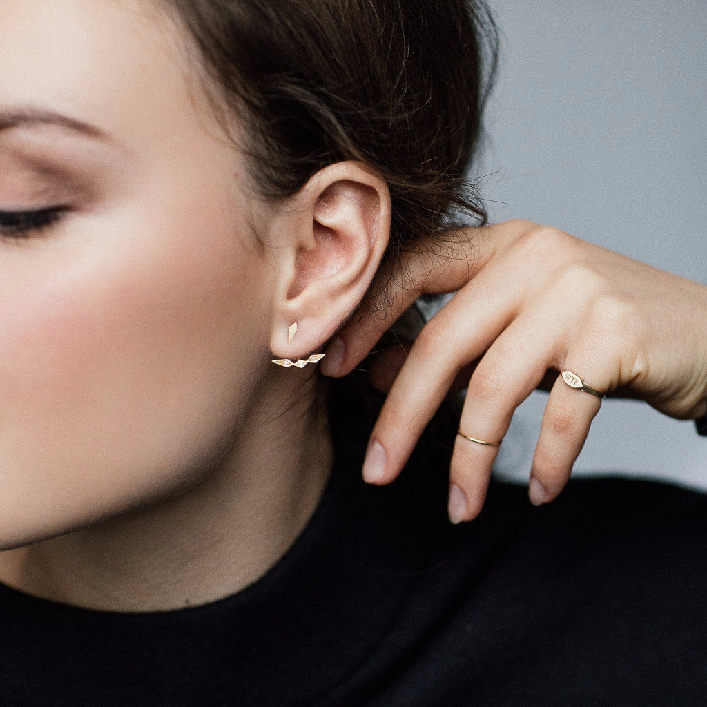 Inez Ear-Jacket Earrings Gold